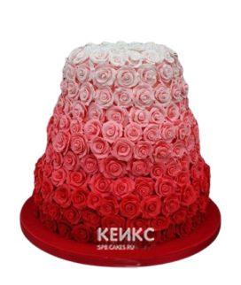 Красно-белый свадебный торт с розами