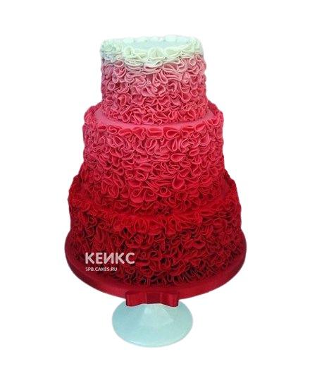 Красно-белый свадебный торт с бантиком