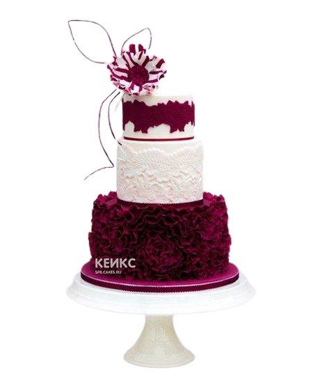 Красно-белый свадебный торт с цветком