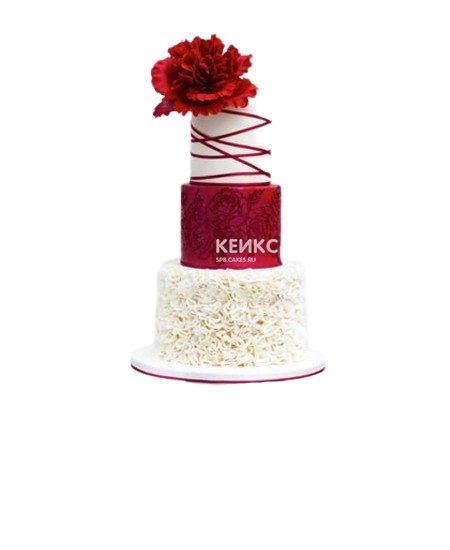 Трехъярусный красно-белый свадебный торт