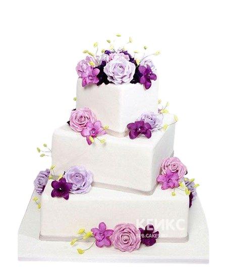 Квадратный свадебный торт сиреневые цветы