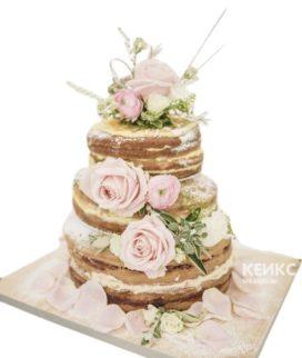 Маленький свадебный торт в стиле рустик с розовыми цветами