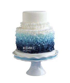 Маленький свадебный торт в бело-синем цвете