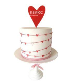 Торт на годовщину свадьбы с красным сердцем