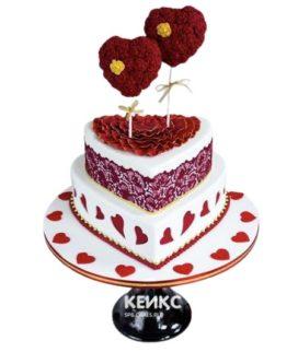 Торт на годовщину свадьбы с двумя сердцами