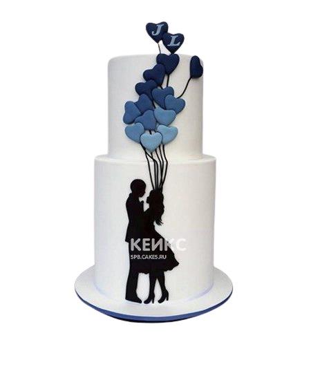 Торт на годовщину свадьбы с силуэтами и шариками
