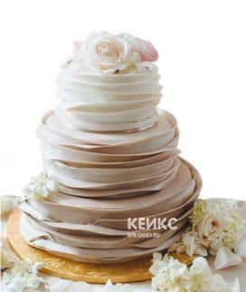 Свадебный торт омбре бело-коричневый