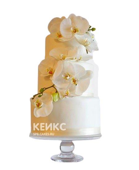 Трехъярусный свадебный торт с белыми орхидеями
