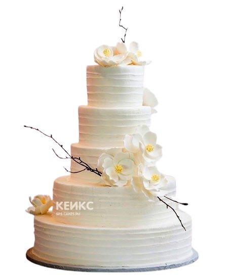Белый свадебный торт с орхидеями