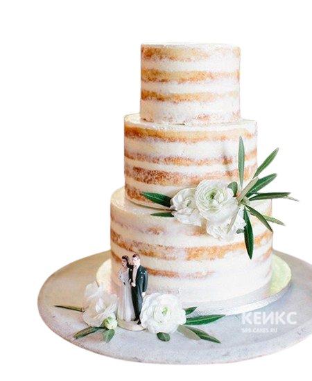 Свадебный торт Пионы с фигурками молодых