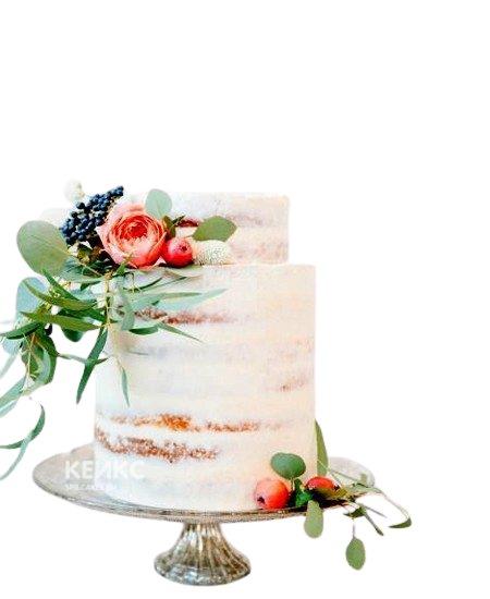 Свадебный торт Пионы с посыпкой и ягодами