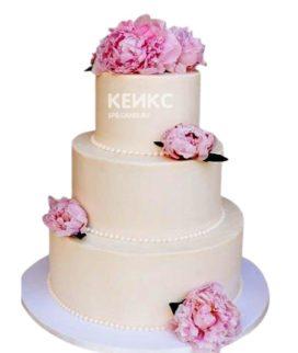 Бежевый свадебный торт Пионы с розовыми цветами