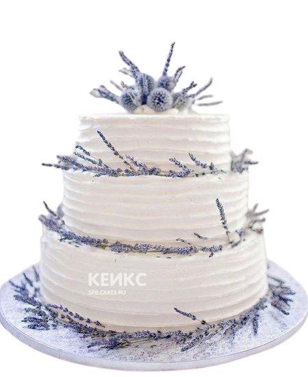 Свадебный торт в стиле Прованс с синими цветами