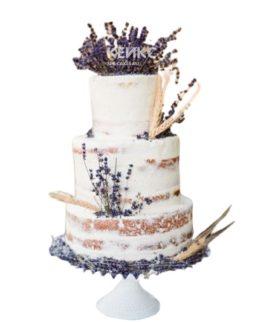 Свадебный торт в стиле Прованс с фиолетовыми цветами и колосками