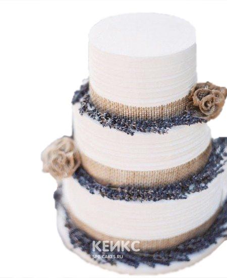 Свадебный торт прованс с мешковиной