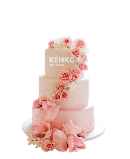 Шикарный свадебный торт в розовых тонах с большими и маленькими розами украсит праздничный стол и порадует гостей торжества и молодожен отличным вкусом. Начинку можно выбрать на заказ. Фото на сайте.