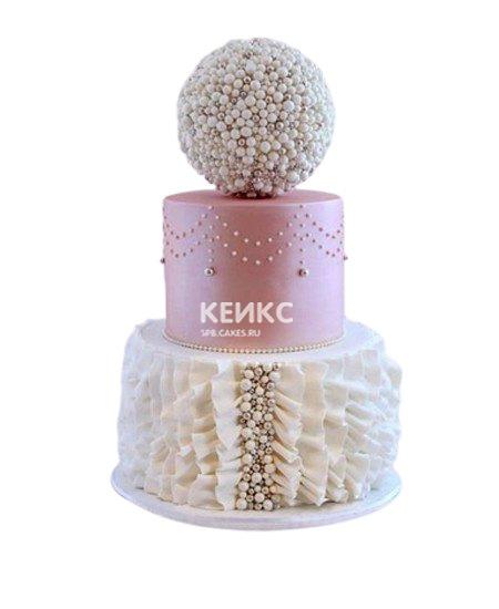Свадебный розовый торт с узорами
