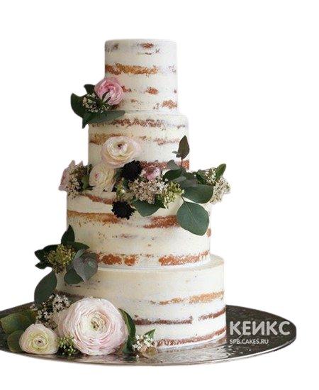 Свадебный торт в стиле Рустик с открытыми коржами и цветами