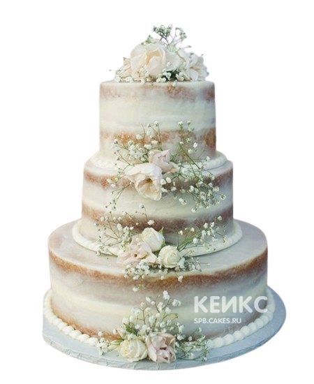 Трехъярусный свадебный торт в стиле Рустик с живыми цветами