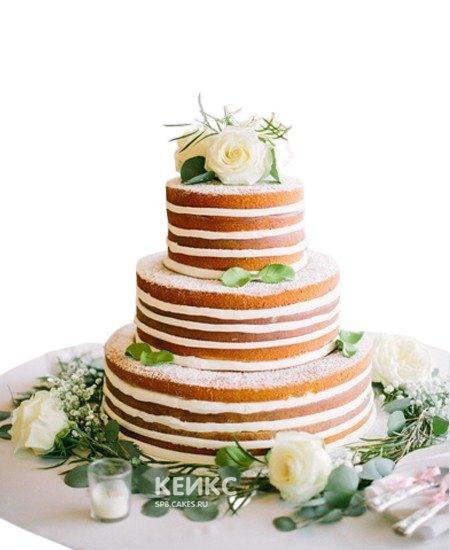 Свадебный торт в стиле Рустик с живыми розами