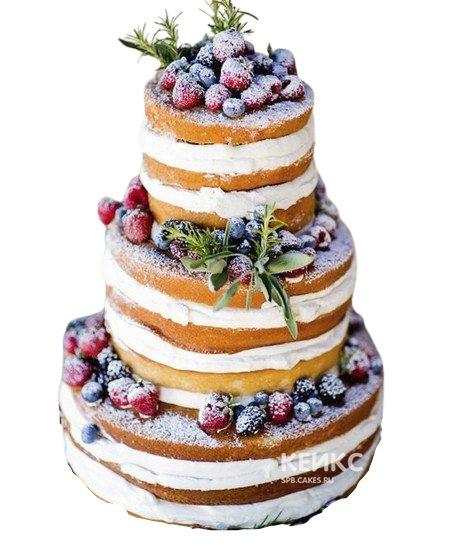 Трехъяруснй свадебный торт в стиле Рустик с разными ягодами