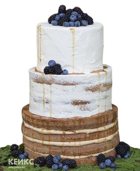 Свадебный торт в стиле Рустик с черникой и ежевикой