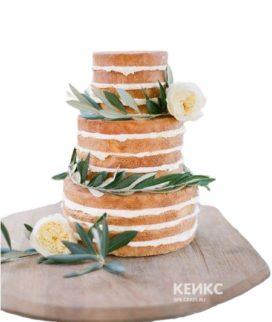 Трехъярусный свадебный торт Рустик с цветами