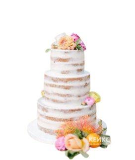 Свадебный торт Рустик с цветами