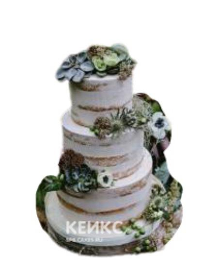 Свадебный торт в стиле Рустик с цветами и листьями