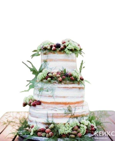 Свадебный торт в стиле Рустик с ягодами и зеленью