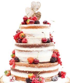 Свадебный торт в стиле Рустик с разными ягодами