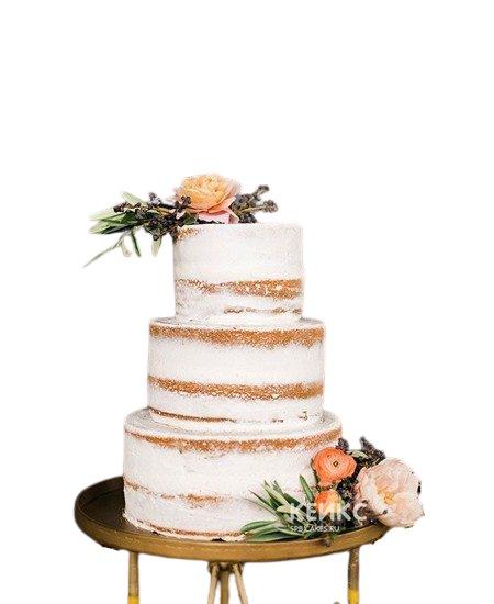 Свадебный торт в стиле Рустик украшенный живыми цветами и травами