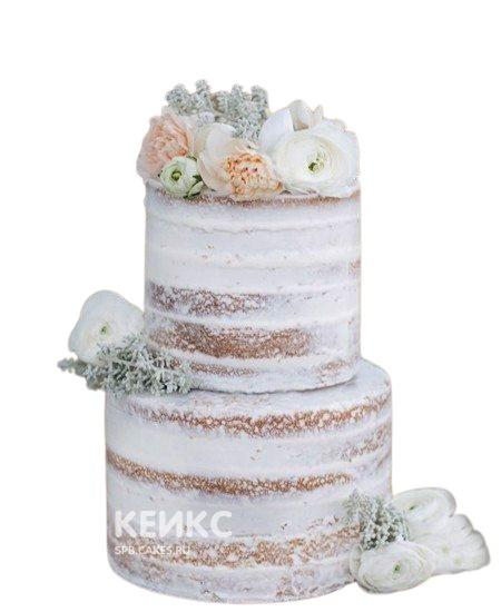 Свадебный торт в стиле Рустик с живыми белыми и персиковыми розами