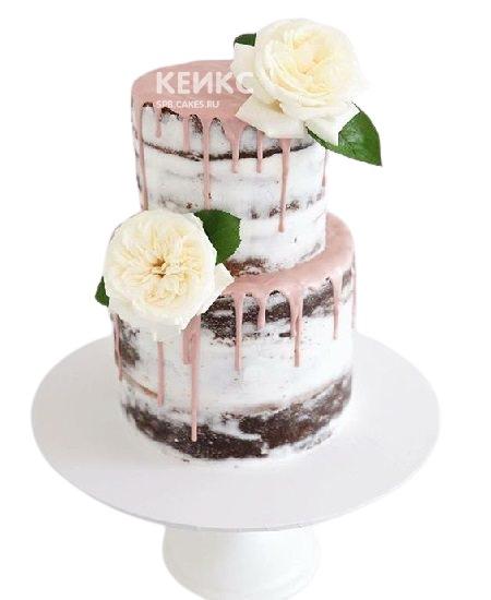 Свадебный торт Рустик с глазурью и белыми цветами