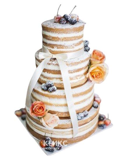 Свадебный торт с фруктами, цветами и бантиком