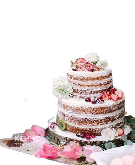 Свадебный торт с фруктами цветы и клубника
