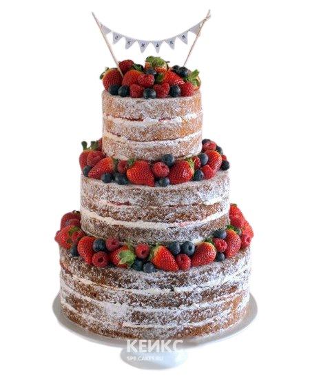 Свадебный торт с фруктами с клубникой, малиной и черникой