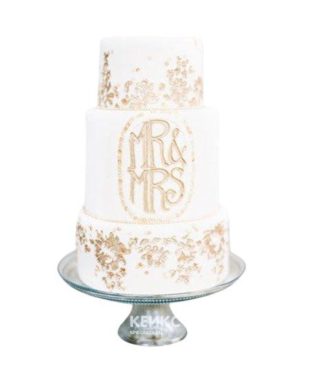 Свадебный торт с инициалами и узорами