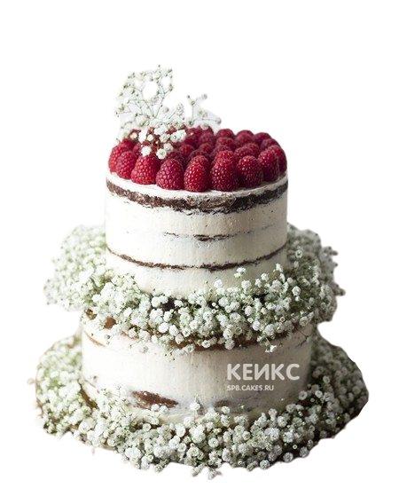 Свадебный торт с малиной и белыми цветами в стиле рустик
