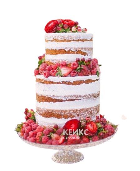 Свадебный торт с открытыми коржами и малиной