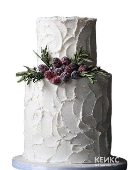 Двухъярусный свадебный торт белого цвета с малиной