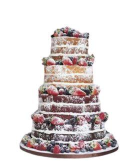 Свадебный торт с открытыми коржами и клубникой