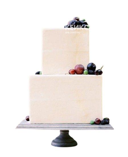 Двухъярусный свадебный торт с вишней