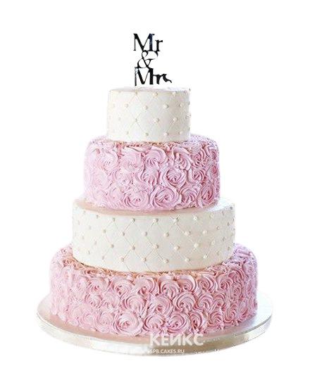 Бело-розовый свадебный торт с кружевами и надписью