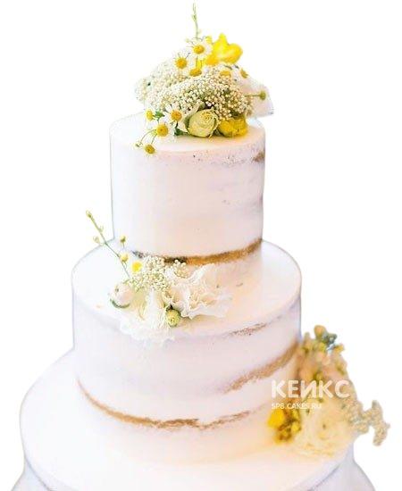 Свадебный торт с маленькими ромашками