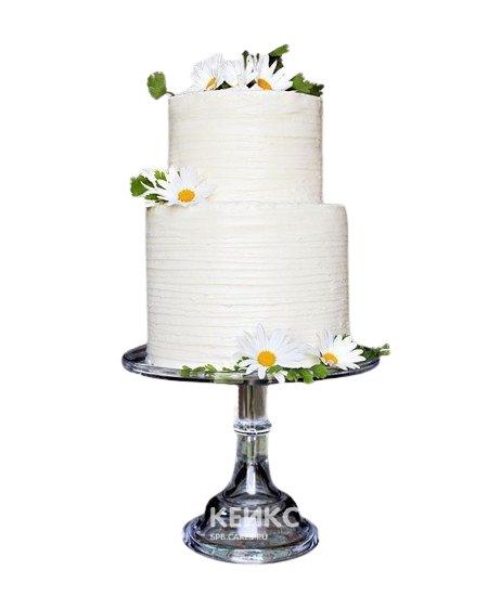 Белый свадебный торт с ромашками