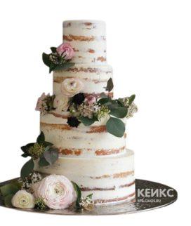 Высокий свадебный торт в стиле рустик с живыми бело-розовыми цветами