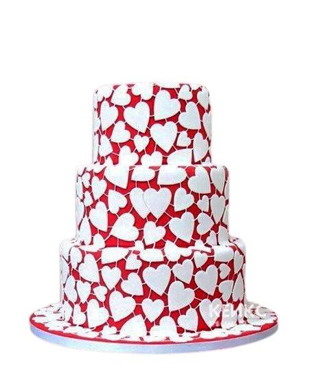 Красивый трехъэтажный свадебный торт с сердечками