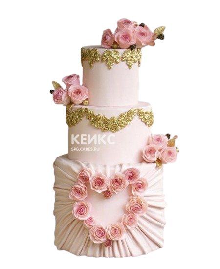 Красивый свадебный торт Сердце