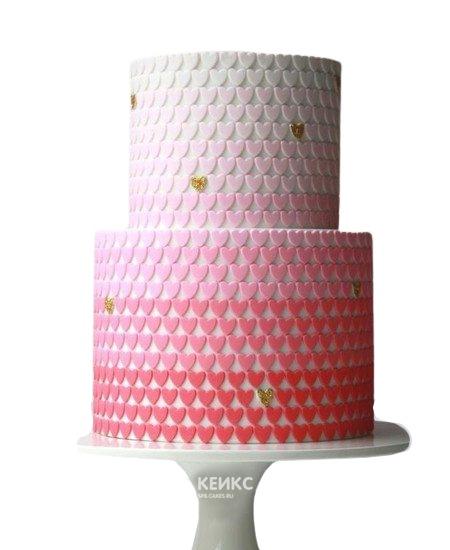 Свадебный торт с разными сердцами
